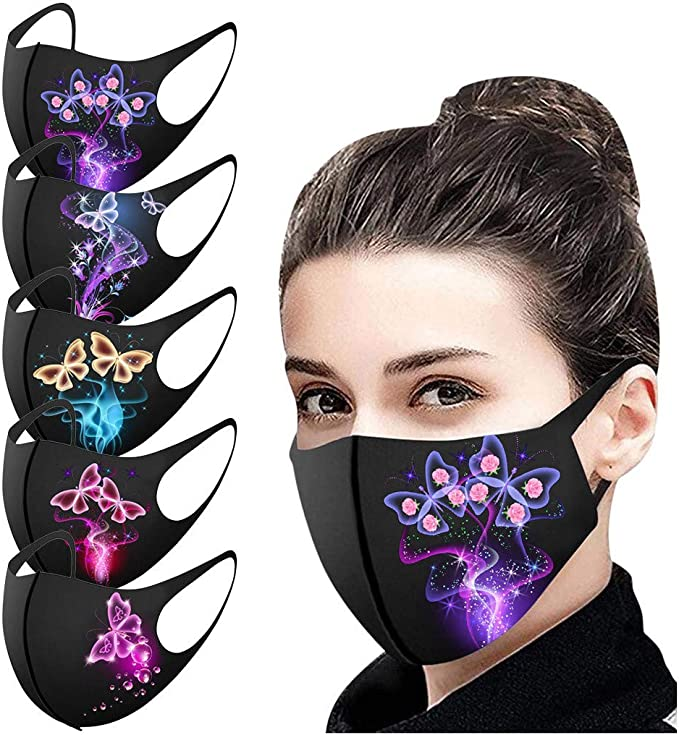MUMEOMU Reusable Washable Cloth Face Bandana Unisex Black Dust Fabric Face Bandana Balaclavas Fashion Butterfly Printed Protective for Motorcycle Bicycle Cycling Outdoor Activities