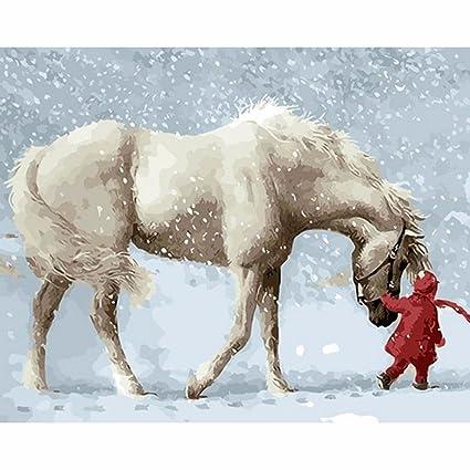 hidrru pintada a mano arte Digital pintura nieve blanco figura DIY no caja DIY pintura Wish