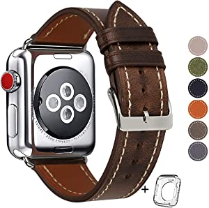 Compatible for Apple Watch Band 42mm 44mm Men,Top Grain Leather Band Replacement Strap iWatch Series 5/4/ 3/2/ 1,Sport, Edition. New Retro discoloured Leather (Coffee+Silver Buckle, 42mm44mm)