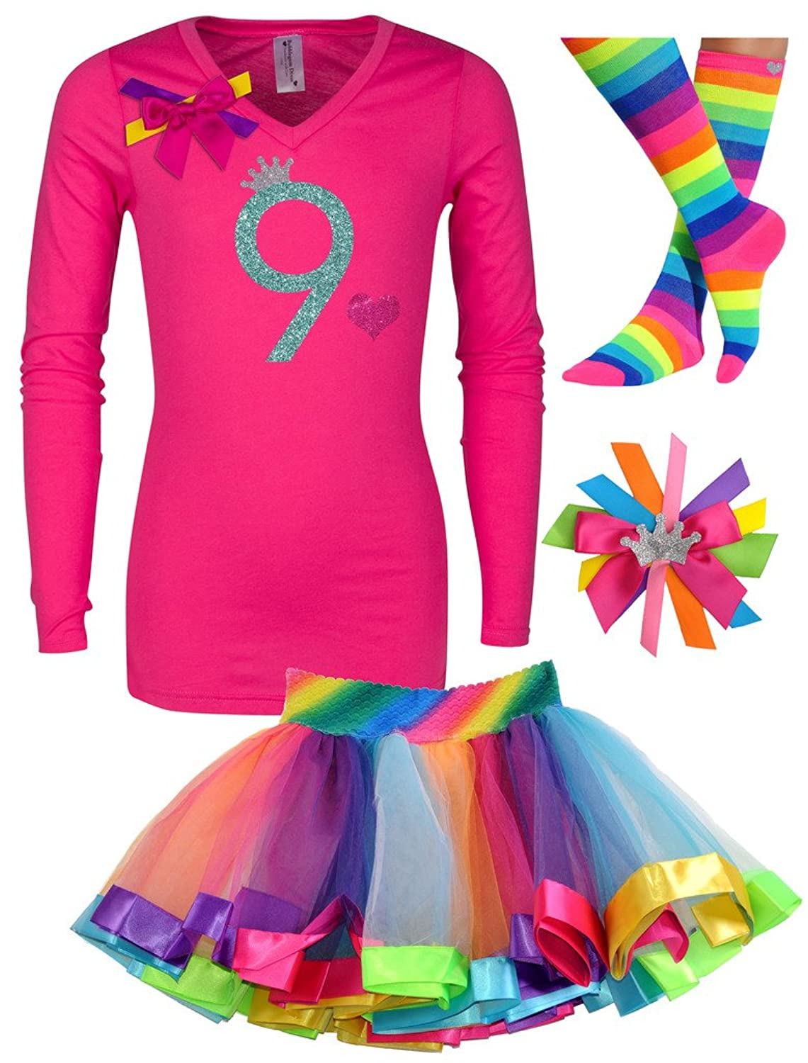 Bubblegum Divas Big Girls 9th Birthday Shirt Rainbow Tutu Socks Hair Bow 4pcs Outfit