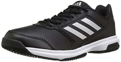 adidas Originals Men's Adizero Attack Tennis Shoes, Black/Metallic Silver/ White, (