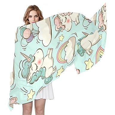 COOSUN Licornes et Nuages Motif Foulard en soie légère longue écharpe pour  les femmes ad1a05b49e2