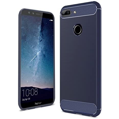 Yokata Funda Huawei Honor 9 Lite Carcasa Silicona Case Ultra Slim TPU Gel Bumper Case Shock Protección Anti-Arañazos con Dibujos Cases Covers - Azul