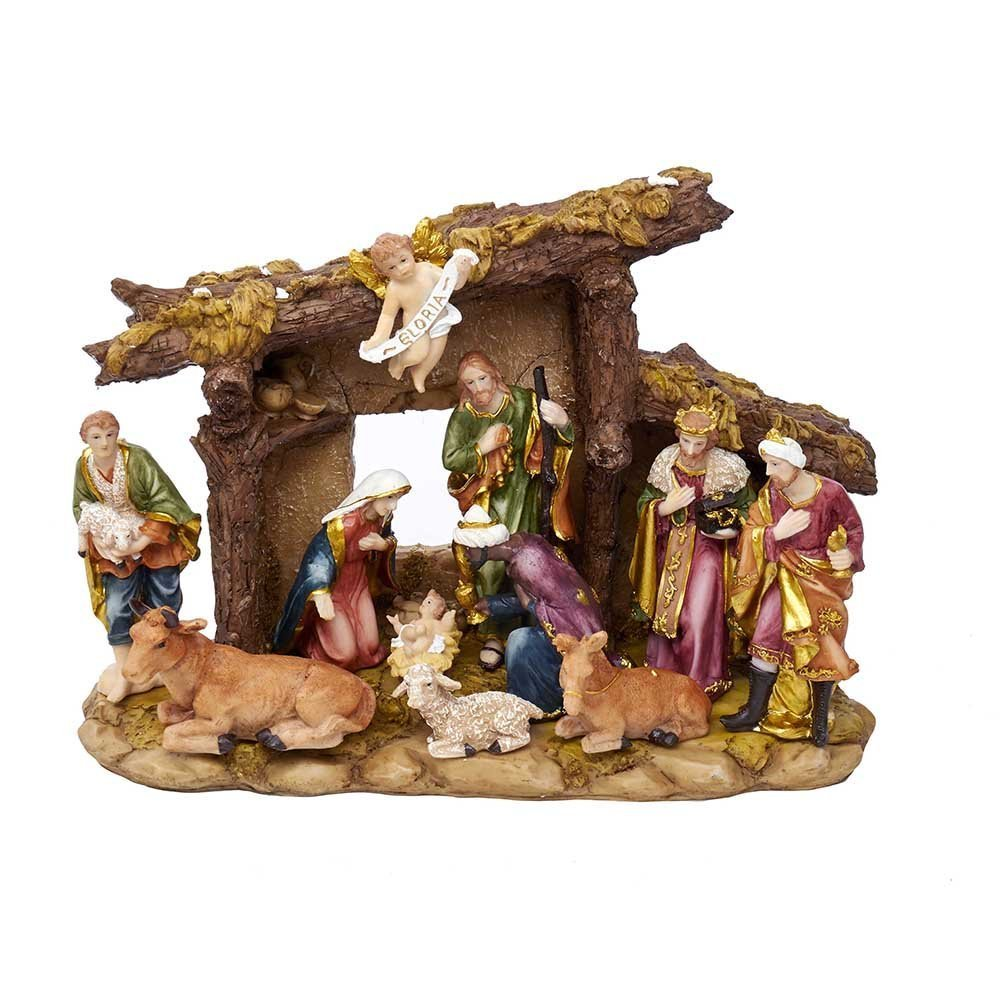 Kurt Adler N0296 Resin Nativity Set with Figures & Stable 11 Piece Set