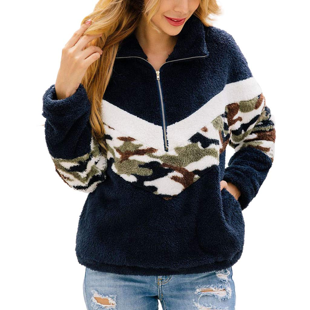 Women Camo Patchwork Flannel Long Sleeve Half Zipper Warm Fuzzy Fleece Pullover Sweatshirt Tops Blouse by HNTDG by HNTDG