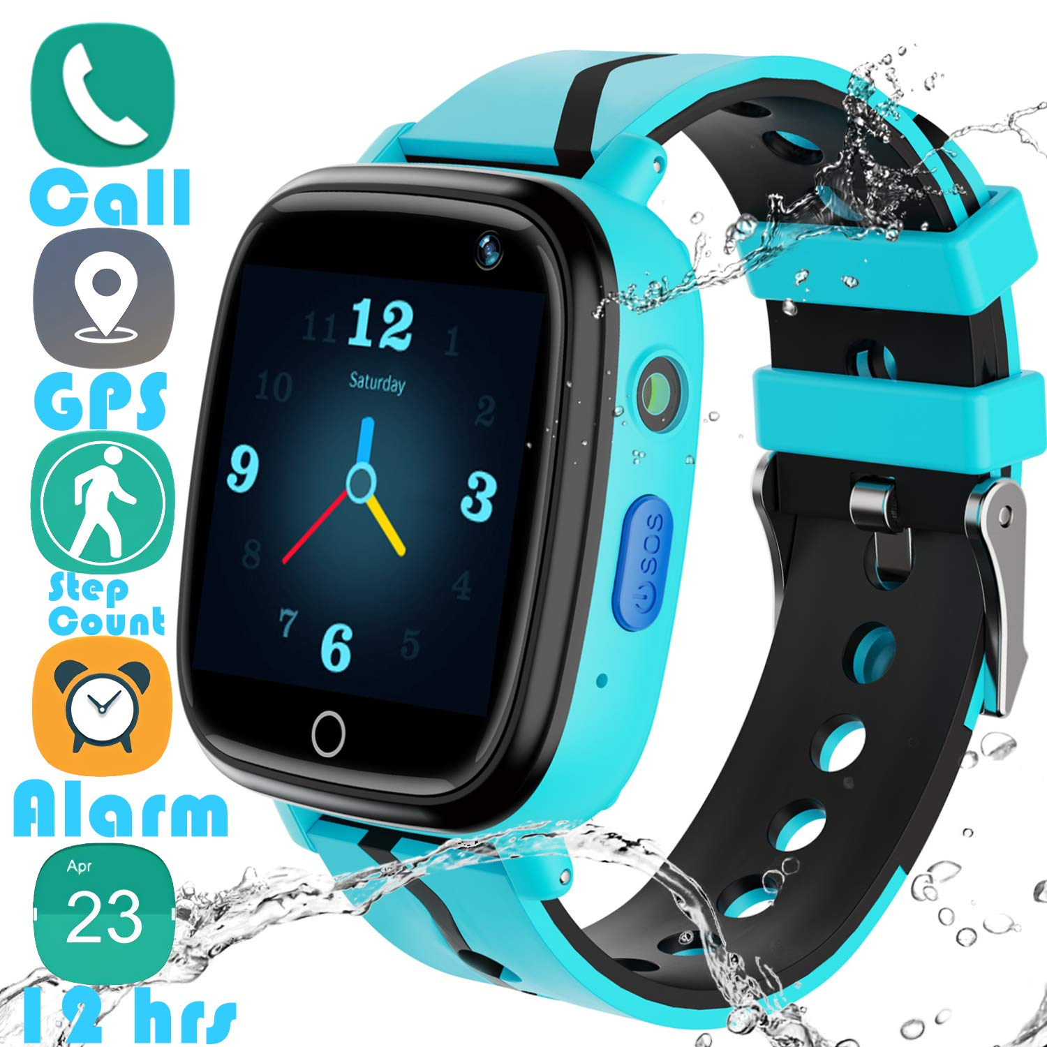 Kids Smartwatch GPS Tracker Gadget - 2019 New Waterproof Children Smart Watches with 1.4'' Touch Screen 12 hrs SOS Phone Call Talkie Walkie Pedometer Fitness Sports Band for Boys Girls Age 4-12 (Blue) by YENISEY