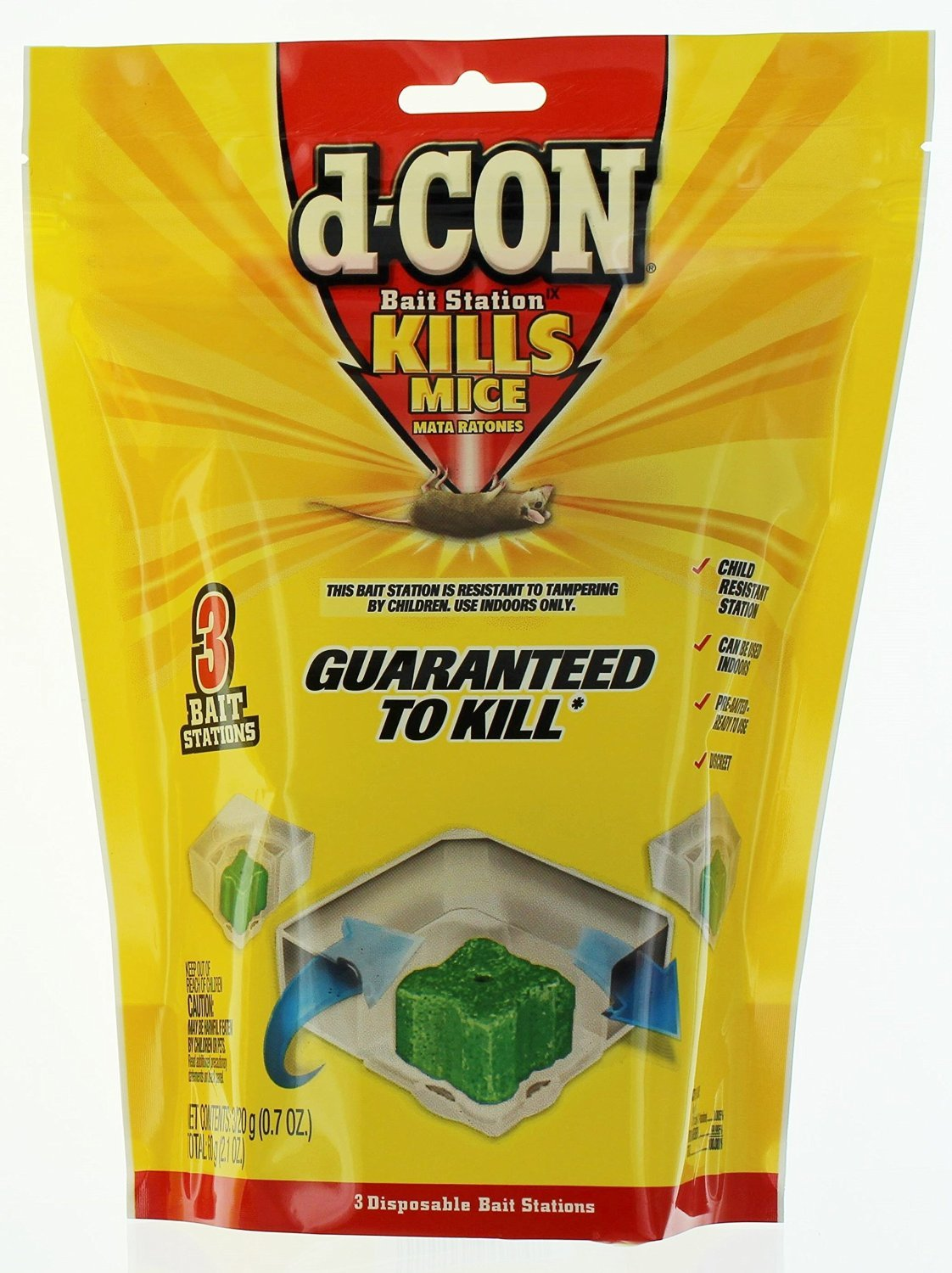 D-con 3 Count Disposable Bait Stations - Corner Fit