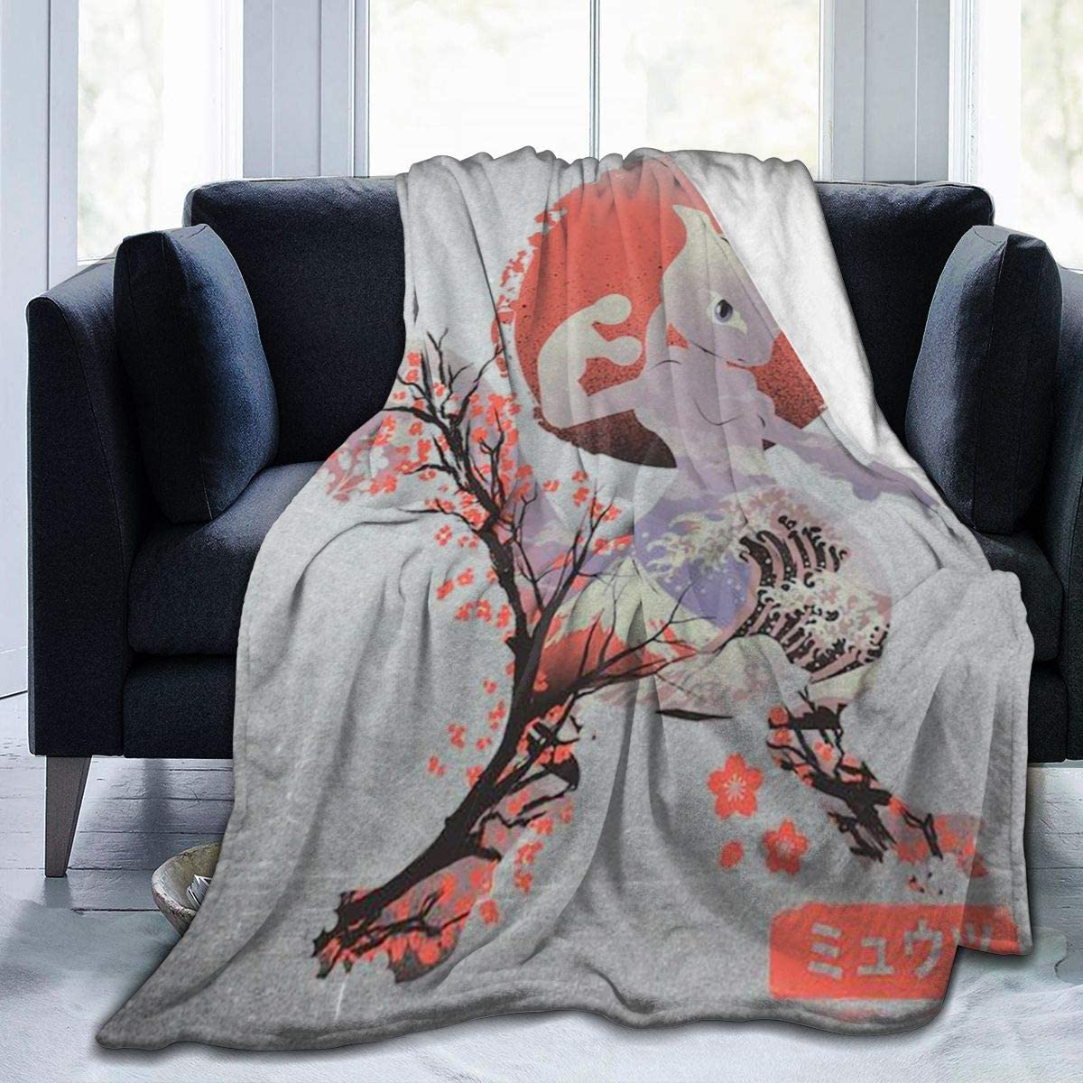 Poke-mon Ukiyo Mewtwo Fleece Blanket Ultra-Soft Lightweight All Seasons Fit Bed Couch Chair Office Flight and Outdoors
