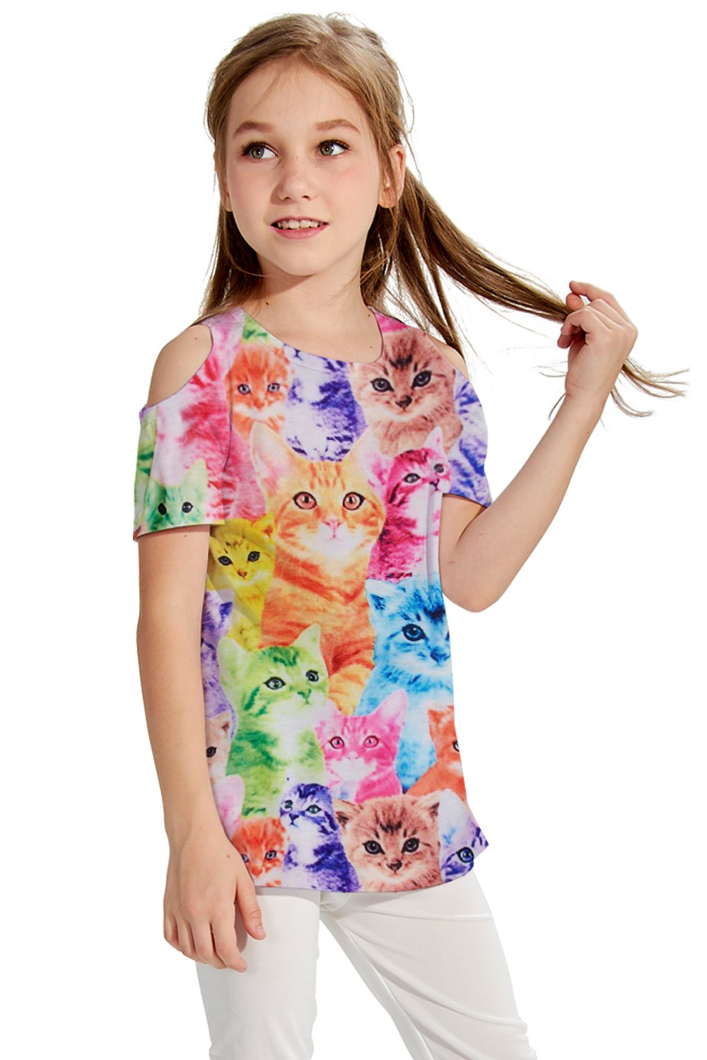 BFUSTYLE Short Sleeve O Neck Undershirt top Tank Shirt for Girls Kids fit 3-4t 1 Pack