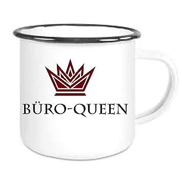 Crealuxe Emailtasse Mit Rand Buro Queen Kaffeetasse Mit Motiv