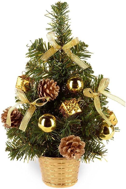 Premier Decorations 30cm Red Gold Silver Dressed Mini Desk Top Xmas Tree