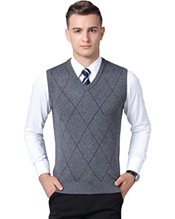 Homovater Mens Gilet Deep V-Neck Sleeveless Jumper Vest Knitwear Cardigans Knitted Waistcoat Sweater Tank Tops with Buttons