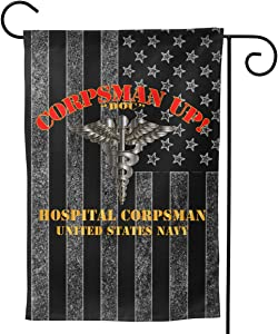 "Navy Corpsman Up Doc US Navy Welcome Yard Garden Flag Banners for Patio Lawn Outdoor Home Decor 12.5""x18"""