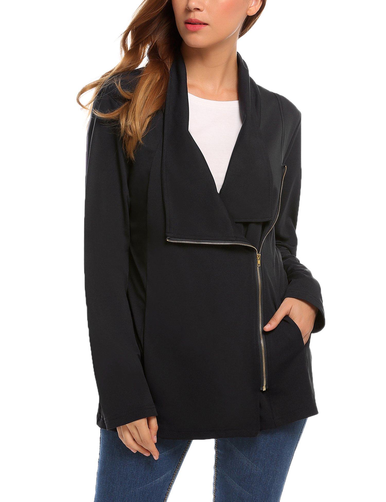 UNibelle Women's Zip up Blazer Jacket Business Suit Black Small