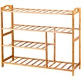 Ollieroo 4 Tier Natural Bamboo Shoe Rack Entryway Shoe Storage Shelf with Extended Length 31.5""