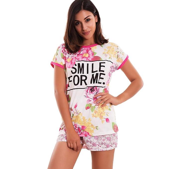 Toocool – Pijama Mujer Flores camiseta texto pantalones lencería lencería sexy nuevo 8264 Rosa X-