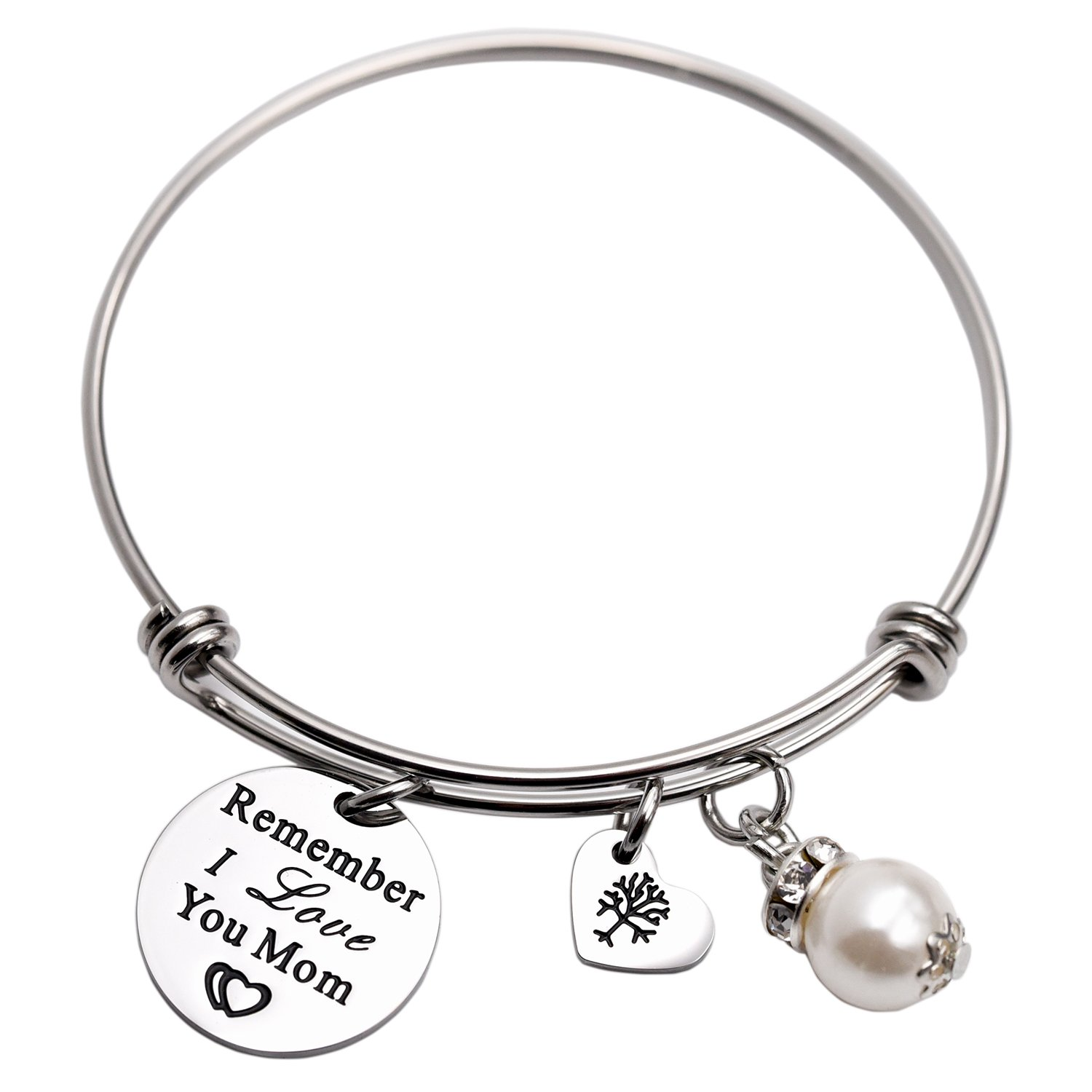 Remember I Love You Mom Bangle Bracelet (White)