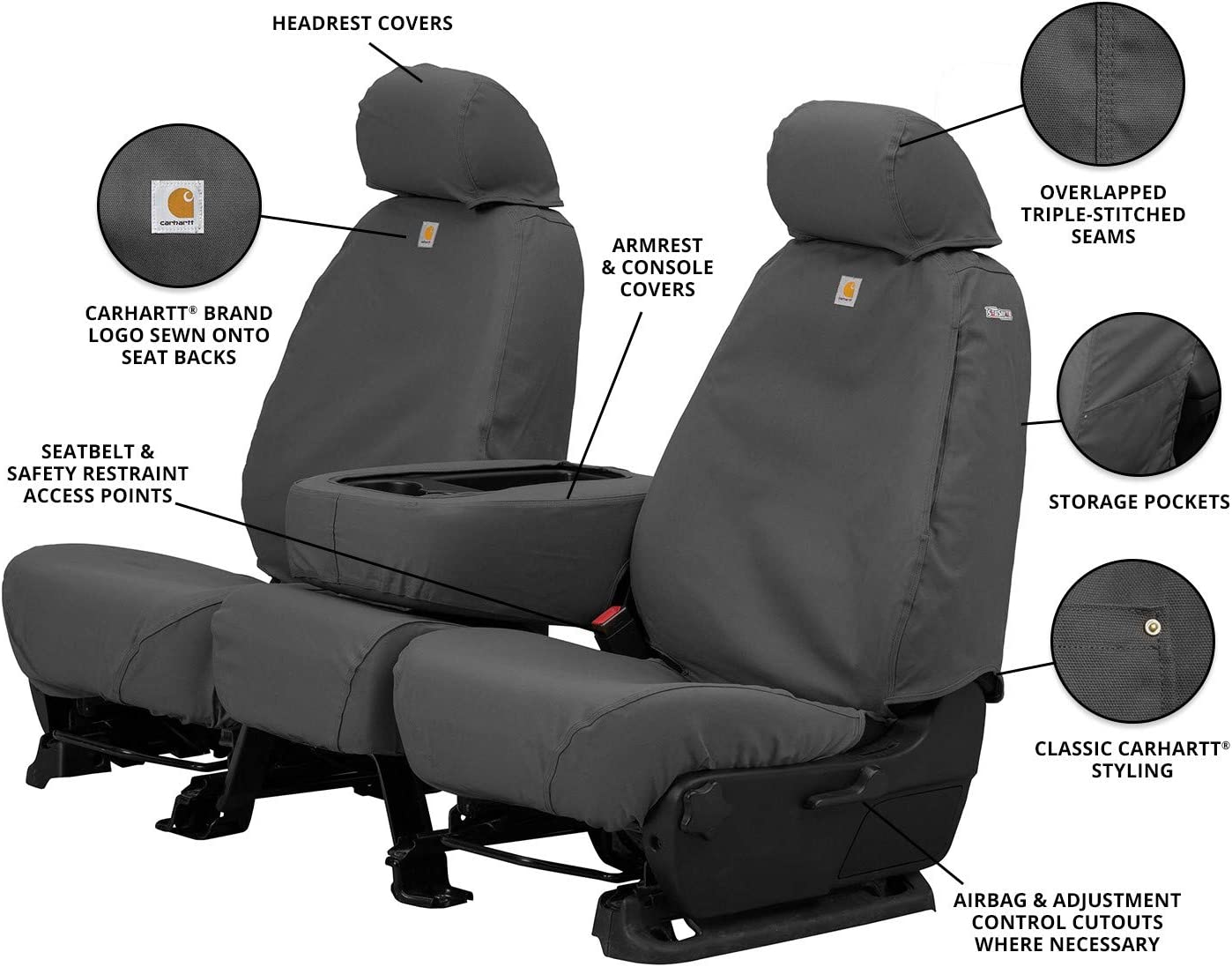 Gravel Duck Weave Covercraft Carhartt SeatSaver Second Row Custom Fit Seat Cover for Select Jeep Renegade Models