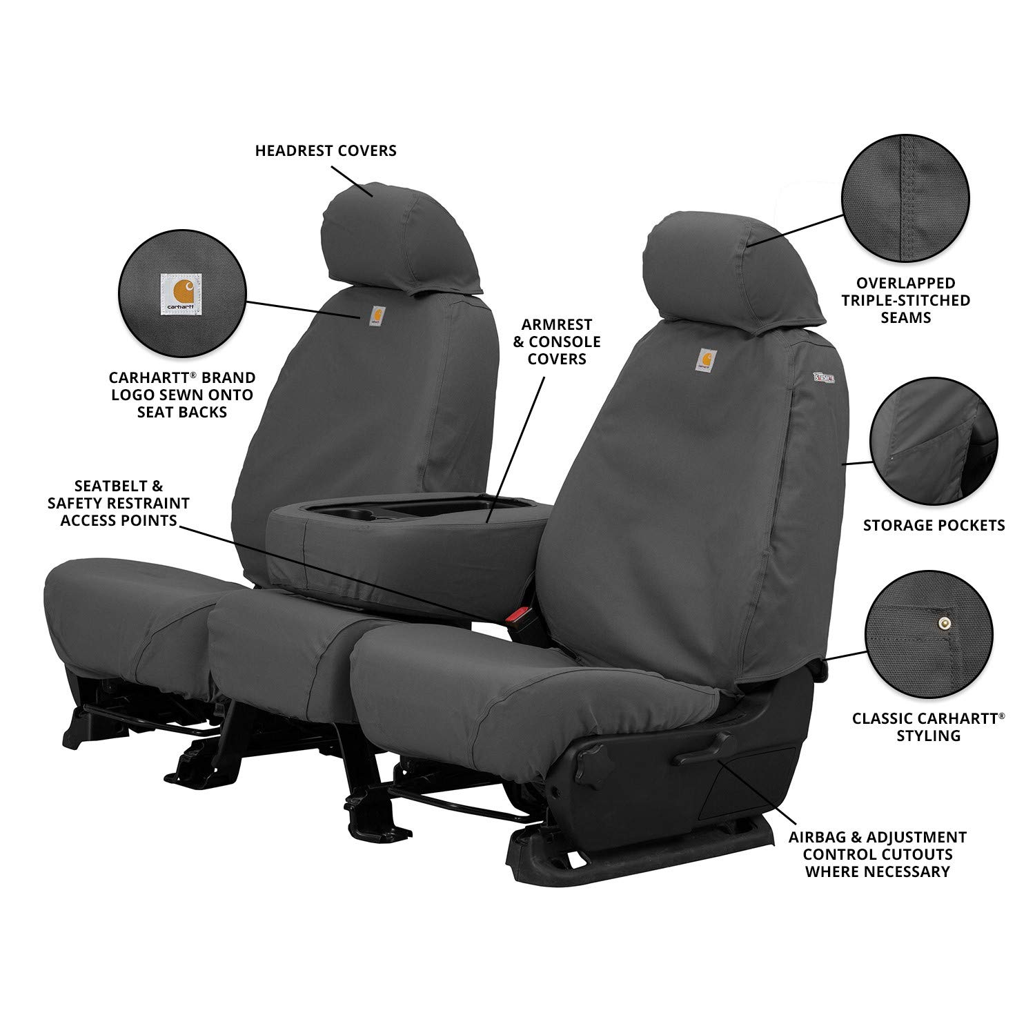 Covercraft Carhartt SeatSaver Front Row Custom Fit Seat Cover for Select Toyota Tacoma Models - Duck Weave (Gravel) by Covercraft (Image #5)