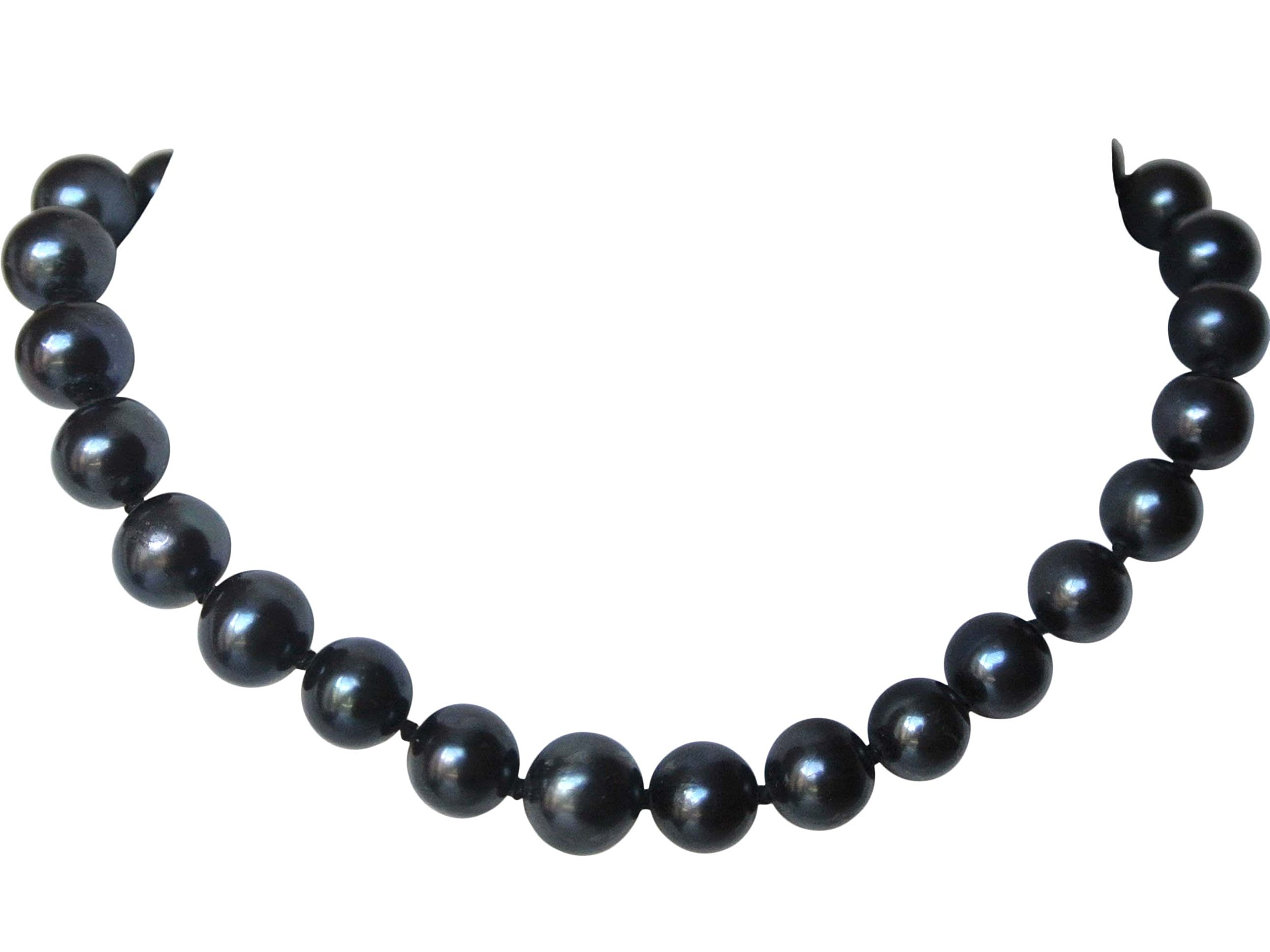 16'' 7'' inch 3pc Set AAA Choker Genuine 7mm 8mm 9mm 10mm ROUND Black Strand Pearl Necklace Bracelet Stud Earrings Cultured Freshwater (9.0-9.5mm)