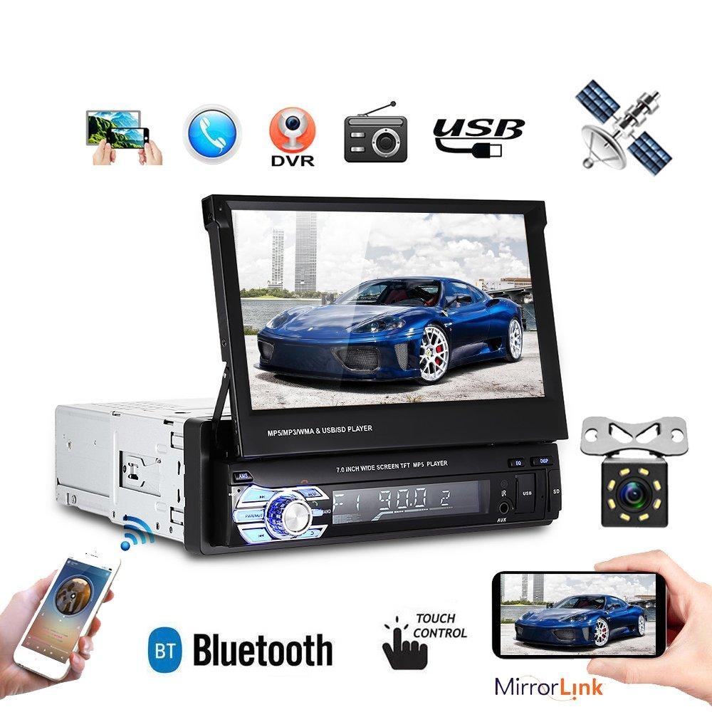Camecho 1DIN 17.8cm Autoradio Stereo Faltbare 7-Zoll-HD-Touchscreen GPS-Kopfeinheit Bluetooth Multimedia MP5-Player + Mini 8 IR-Licht Nachtsicht-Unterstü tzungskamera (mit 8G-Karte)