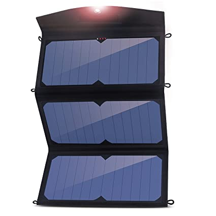 Amazon.com: Cargador solar, angozo 24 W 2-Port USB plegables ...