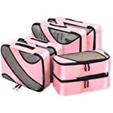 6 Set Packing Cubes,3 Various Sizes Travel Luggage Packing Organizers Pink