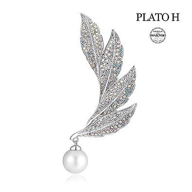 Amazon com: PLATO H Cultured Pearl & Leaf Brooch with Swarovski