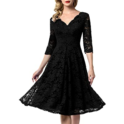 AONOUR Women's Vintage Floral Lace Bridesmaid Dress 3/4 Sleeve Wedding Party Midi Dress: Clothing