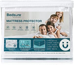 Bedsure 100% Waterproof Mattress Protector Twin XL/Twin Extra Long Size Terry Cotton Deep Pocket Hypoallergenic Mattress Cover-White 39 x 80 inches