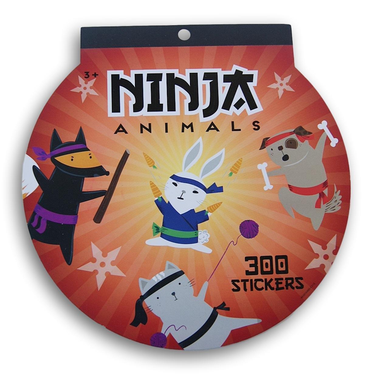 Ninja Animals Sticker Pad - 8x8 Inches - 300 Stickers