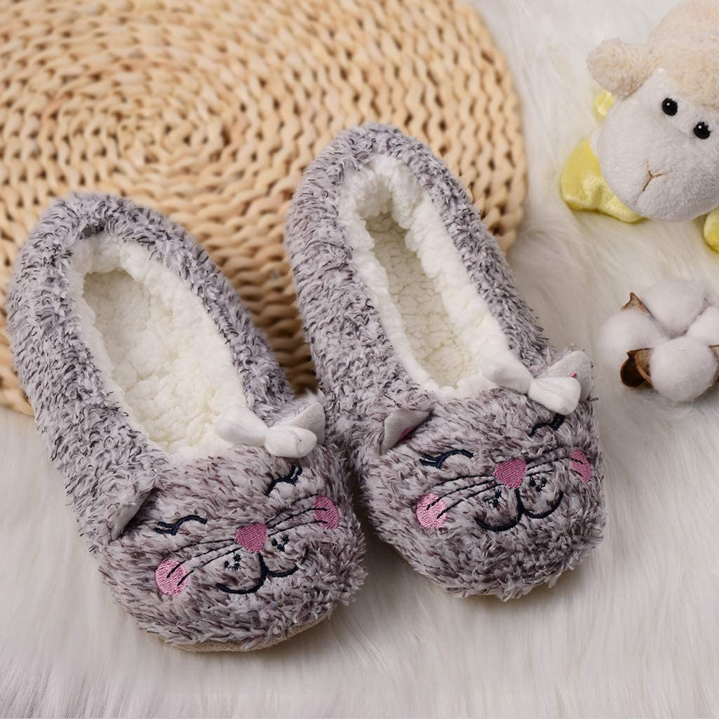 Panda Bros Kids Animal Slipper Socks Fluzzy Warm bedroom Shoes Cartoon Cozy Fleece Indoor Slipper