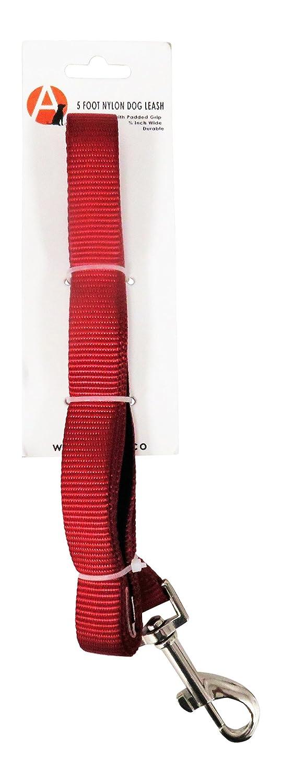 Adog Merlot Foot Nylon Dog Leash With Padded Handle, Red