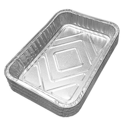 ounona sartenes de goteo de barbacoa desechables bandeja bandejas de papel de aluminio lata para grasa Catch sartenes de repuesto maletero de basura sin ...