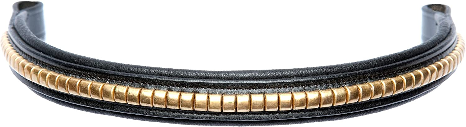 PONY 14, BROWN Cwell Equine Browband Brass Clincher hand made Black//Brown