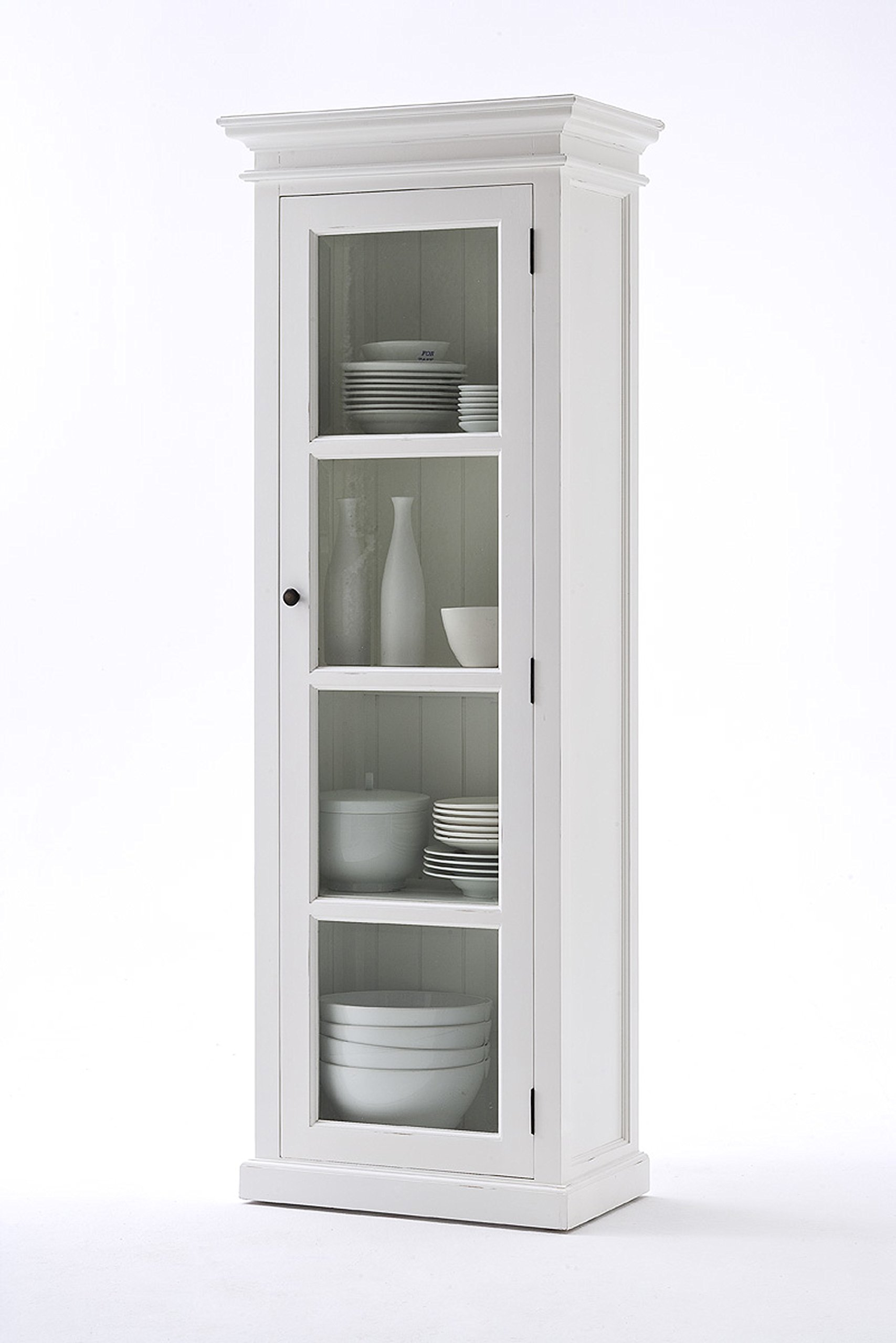NovaSolo Halifax Pure White Mahogany Wood Single Display Stand With Glass Door And 4 Shelves by NovaSolo