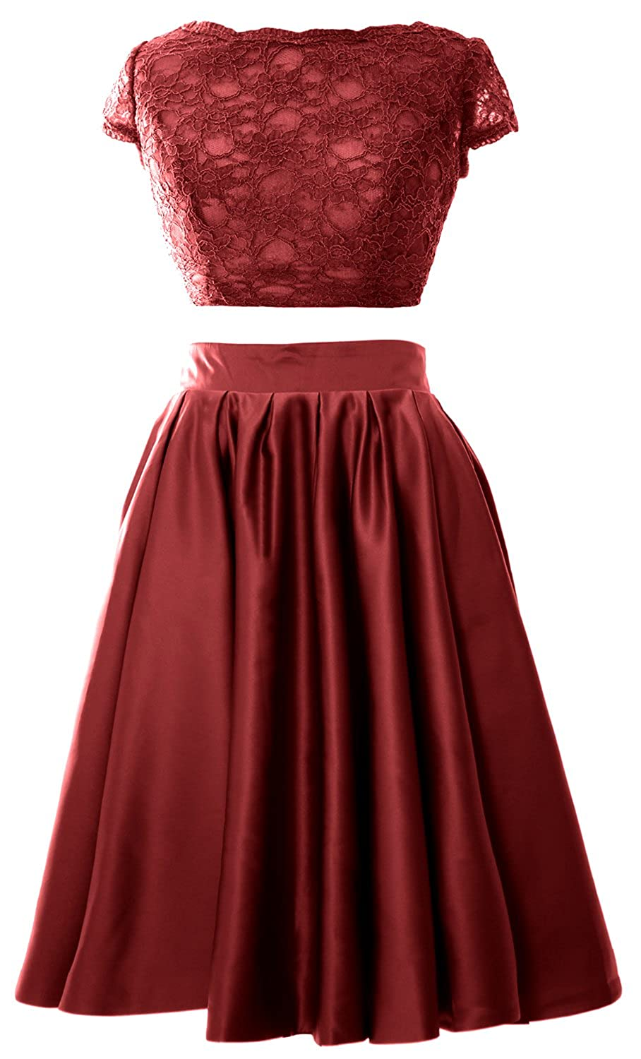 MACloth Women 2 Piece Cocktail Dress Cap Sleeves Short Lace Prom Formal Gown