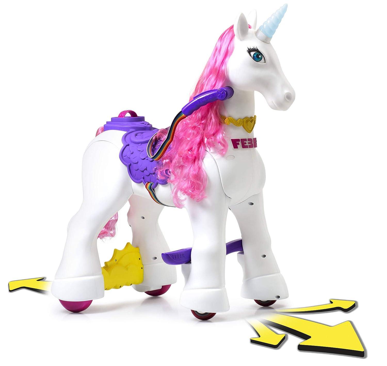 FEBER My Lovely Unicorn con Melena Rosa, Mascota electrónica y vehículo de batería 12 V (Famosa 800011603)