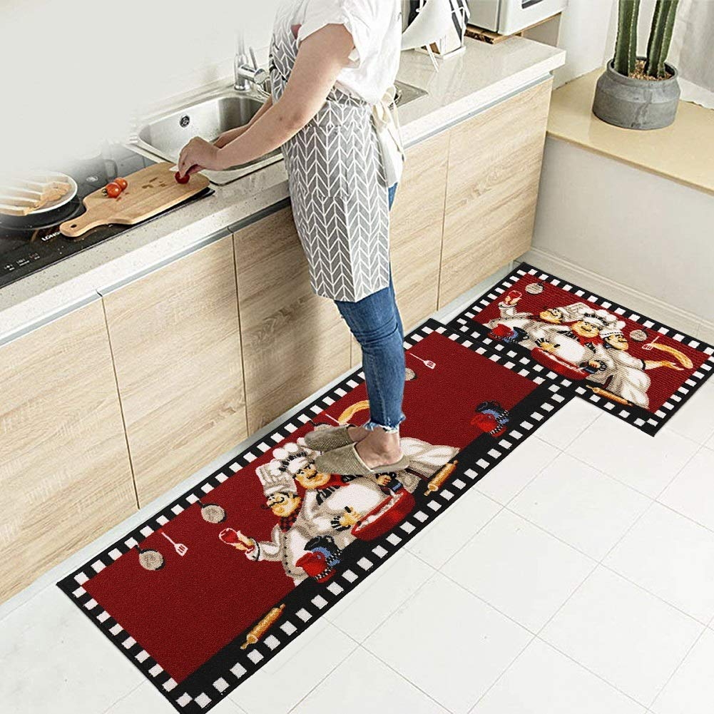 "EGOBUY 2 Piece Non-Slip Kitchen Mat Rubber Backing Doormat Runner Rug Set (16x24""+16x47"", Chef)"