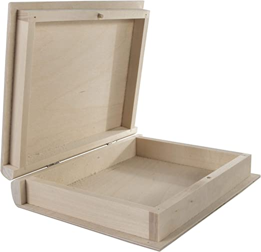 WooDeeDoo Neto Cajas con Forma de Libro, Madera, 21 x 17 x 4.5 cm ...