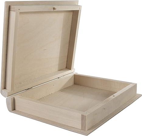 WooDeeDoo Neto Cajas con Forma de Libro, Madera, 21 x 17 x 4.5 cm: Amazon.es: Hogar