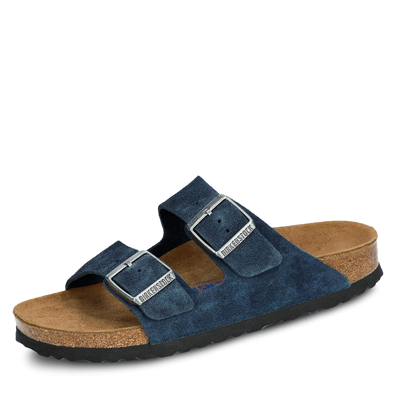 Birkenstock 1014205 Arizona Damen Pantolette aus Veloursleder Fußbett aus Kork, Groesse 40, blau