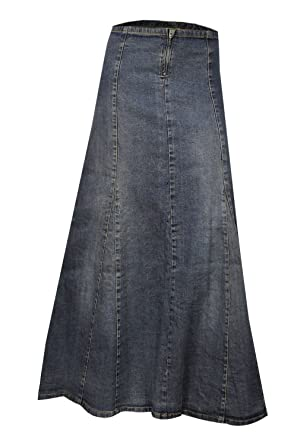 Clove A Line Blue Stretch Denim Ankle Length Maxi Skirt Plus Size ...