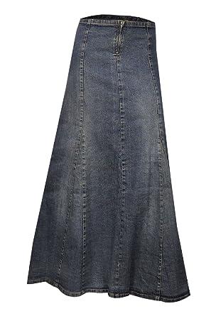 Clove A Line Blue Stretch Denim Ankle Length Maxi Skirt Plus Size ...