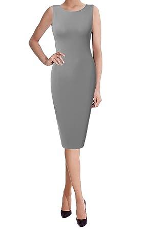TWINTH Midi Dress Plus Size Classic Slim Fit Sleeveless Short ...