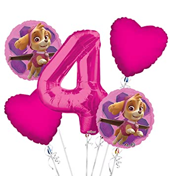 PAW PATROL 4th Birthday Party 5x HELIUM BALLOONS Bouquet Age 4