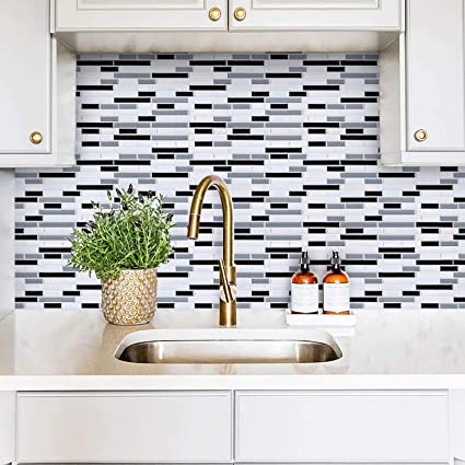 White Gray Peel and Stick Wall Tile for Kitchen Backsplash-Subway Tile  Backsplash Peel and Stick-Stick on Tiles for Kitchen (8 Tiles)