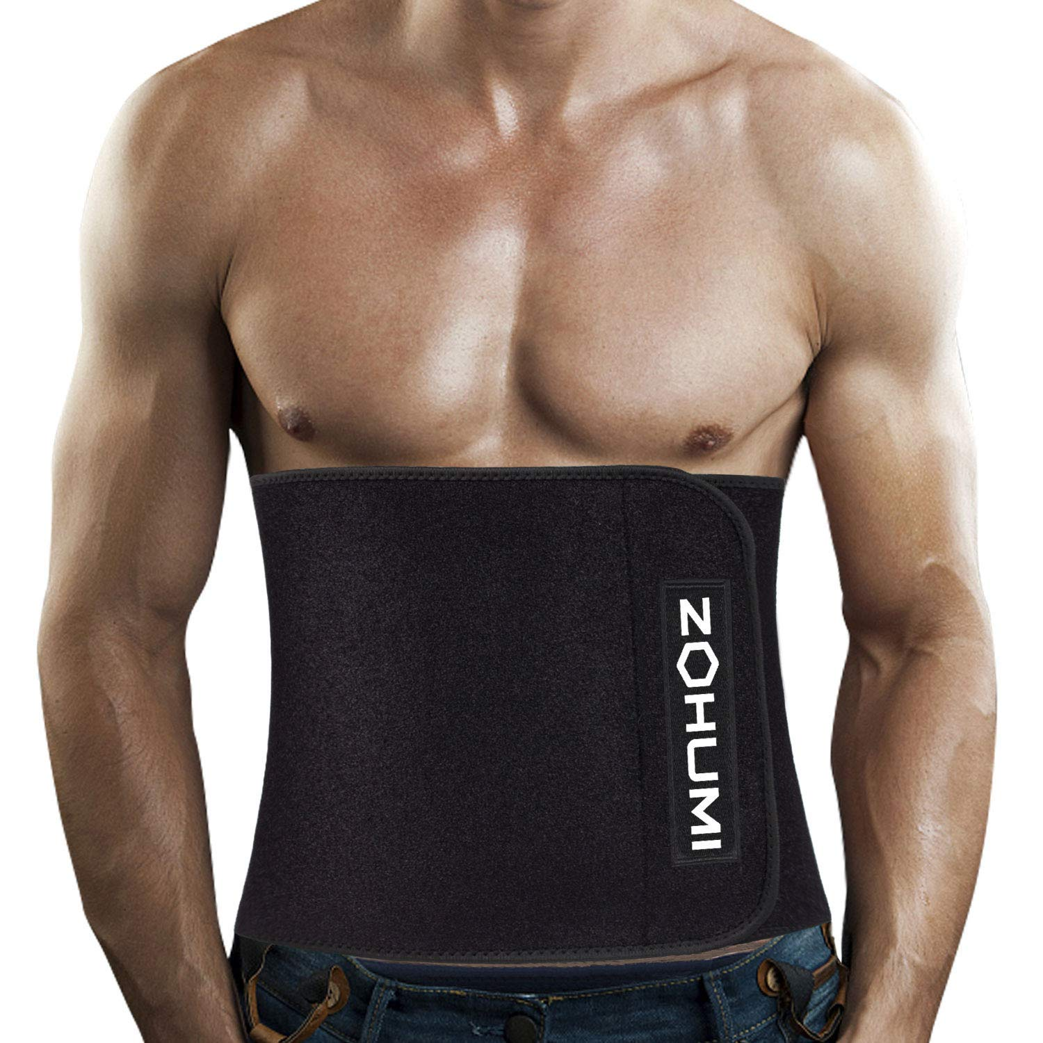 ZOHUMI Mens Waist Trimmer,Widening Neoprene Waist Trainer Ab Belt with Flexible Spring Back Support for Fitness