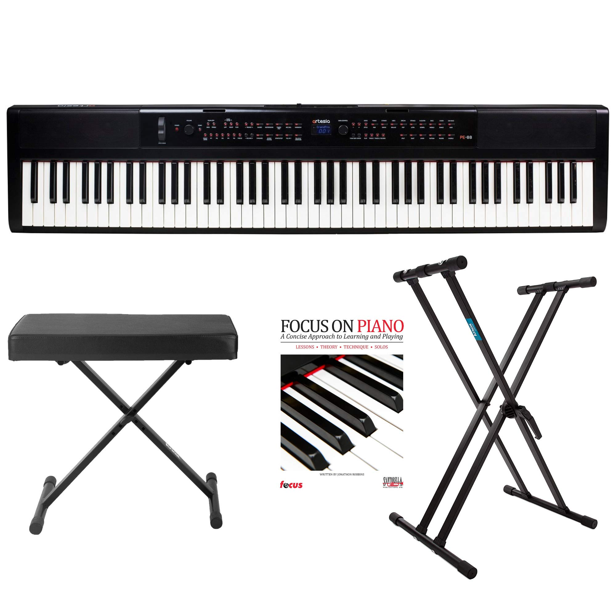 Artesia PE-88 Deluxe 88-Key Mobile Piano (Black) with Power Supply and Pedal with Knox Bench, Keyboard Stand and Focus on Piano Book/CD by Artesia