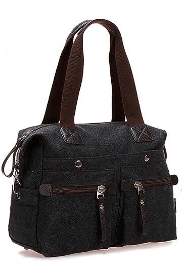 ff44bdffd548 MOLLYGAN Women's Casual Canvas Top-Handle Bag Tote Handbag Vintage  Weekender Shoulder Bag Black